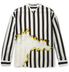 Haider Ackermann Grandad-Collar Double-Cuff Printed Silk Shirt