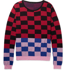 Haider Ackermann Oversized Checked Cotton and Cashmere-Blend Sweater