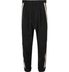 Haider Ackermann Tapered Cropped Grosgrain-Trimmed Wool Trousers