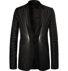 Rick Owens Black Embroidered Wool-Blend Blazer