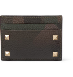 Valentino Rockstud Camouflage-Print Full-Grain Leather Cardholder