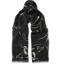 Valentino Printed Modal, Cashmere and Silk-Blend Scarf