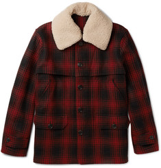 Kent & Curwen Hopkins Shearling-Trimmed Checked Wool Jacket