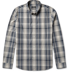 A.P.C. Slim-Fit Button-Down Collar Checked Cotton-Poplin Shirt