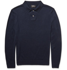A.P.C. - Knitted Merino Wool and Silk-Blend Polo Shirt