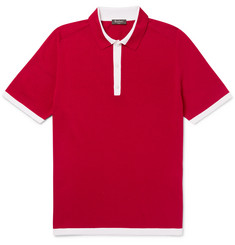 Berluti Contrast-Tipped Knitted Silk and Cotton-Blend Polo Shirt