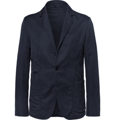 Aspesi - Blue Unstructured Cotton and Linen-Blend Twill Blazer