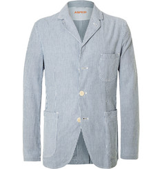 Aspesi - Blue Slim-Fit Striped Cotton-Seersucker Blazer