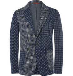 Barena Blue Slim-Fit Patchwork-Jacquard Cotton-Blend Blazer