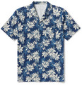 Officine Generale - Dario Camp-Collar Printed Cotton-Voile Shirt