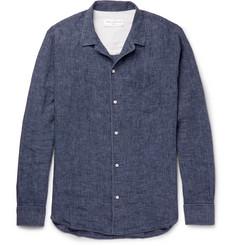 Officine Generale Piped Linen-Chambray Shirt