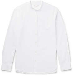 Officine Generale - Grandad-Collar Cotton-Seersucker Shirt