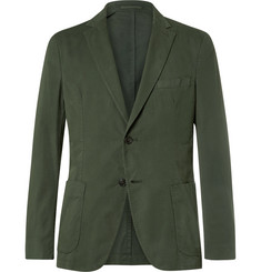 Officine Generale - Green Slim-Fit Garment-Dyed Cotton-Twill Suit Jacket