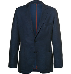 Loro Piana Blue Slim-Fit Cotton and Virgin Wool-Blend Piqué Blazer