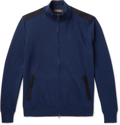 Loro Piana - Suede-Trimmed Cashmere and Silk-Blend Zip-Up Cardigan