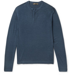 Loro Piana Wool and Silk-Blend Henley T-Shirt