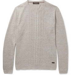 Loro Piana Slim-Fit Cable-Knit Linen and Silk-Blend Sweater