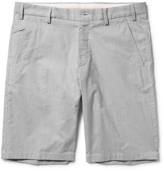 Loro Piana Slim-Fit Striped Stretch Cotton and Linen-Blend Bermuda Shorts