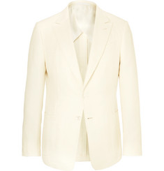 Ermenegildo Zegna Cream Slim-Fit Silk and Cotton-Blend Hopsack Blazer