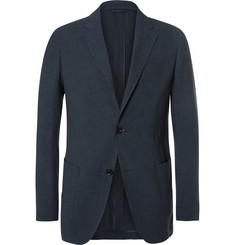 Ermenegildo Zegna Blue Slim-Fit Puppytooth Woven Suit Jacket