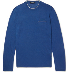 Ermenegildo Zegna - Contrast-Tipped Silk and Linen-Blend Sweater
