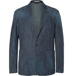 Tomas Maier Blue Slim-Fit Washed-Denim Blazer