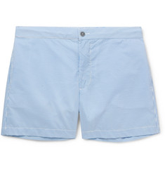 Officine Generale Roman Slim-Fit Mid-Length Seersucker Swim Shorts