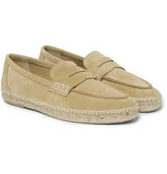 Loewe - Suede Espadrille Penny Loafers