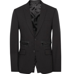 Givenchy - Black Slim-Fit Zip-Detailed Wool and Mohair-Blend Blazer