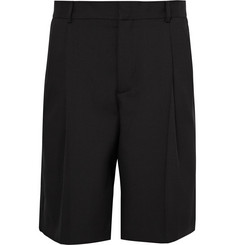 Givenchy Satin-Trimmed Pleated Wool and Mohair-Blend Bermuda Shorts