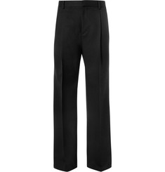 Givenchy Wide-Leg Satin-Trimmed Wool and Mohair-Blend Trousers