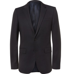 Wooyoungmi Blue Silk Satin-Trimmed Wool Blazer