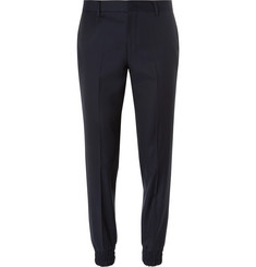 Wooyoungmi Tapered Silk-Trimmed Wool Trousers