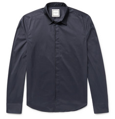 Wooyoungmi Slim-Fit Faille-Trimmed Stretch Cotton-Blend Shirt