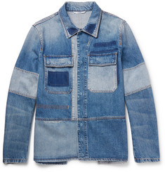 Valentino Slim-Fit Patchwork Distressed Denim Jacket