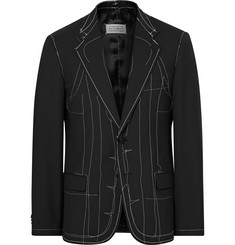 Maison Margiela Black Slim-Fit Basting-Stitched Wool-Blend Blazer