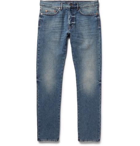 Valentino Slim-fit Washed-denim Jeans In Blue