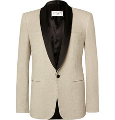 Maison Margiela Ecru Slim-Fit Satin-Trimmed Cotton-Tweed Tuxedo Jacket