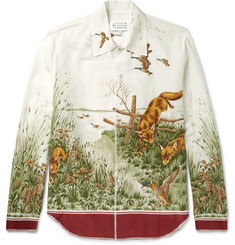 Maison Margiela Printed Silk and Cotton-Blend Voile Shirt