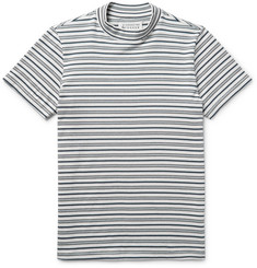 Maison Margiela Striped Cotton Mock-Neck T-Shirt