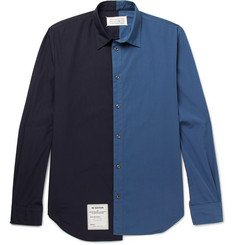 Maison Margiela Two-Tone Washed Cotton-Poplin Shirt