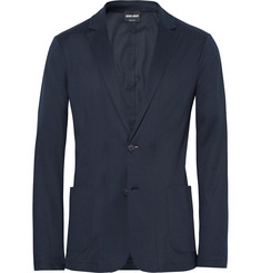 Giorgio Armani Blue Slim-Fit Unstructured Jersey Blazer