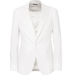 Giorgio Armani - White Slim-Fit Stretch Virgin Wool and Linen-Blend Tuxedo Jacket