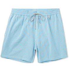 Loro Piana Mid-Length Striped Cotton-Blend Swim Shorts