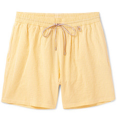 Loro Piana - Mid-length Striped Cotton-Blend Swim Shorts