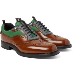 Prada - Spazzolato Leather and Mesh Wingtip Brogues