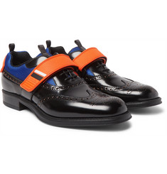 Prada - Mesh and Rubber-Trimmed Leather Wingtip Brogues