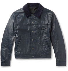 Acne Studios Arno Slim-Fit Corduroy-Trimmed Leather Jacket