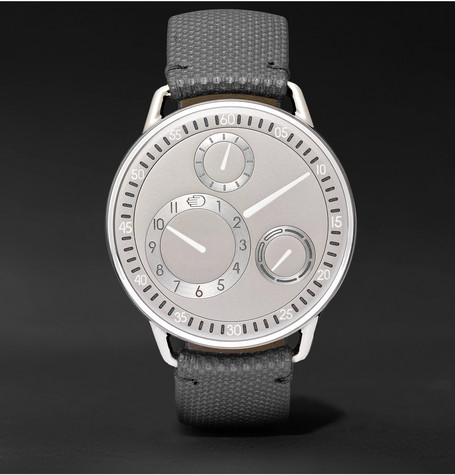 Type 1 Mechanical 42mm Titanium And Leather Watch - Silver