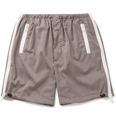 Prada Zip-Detailed Gingham Wool-Blend Shorts